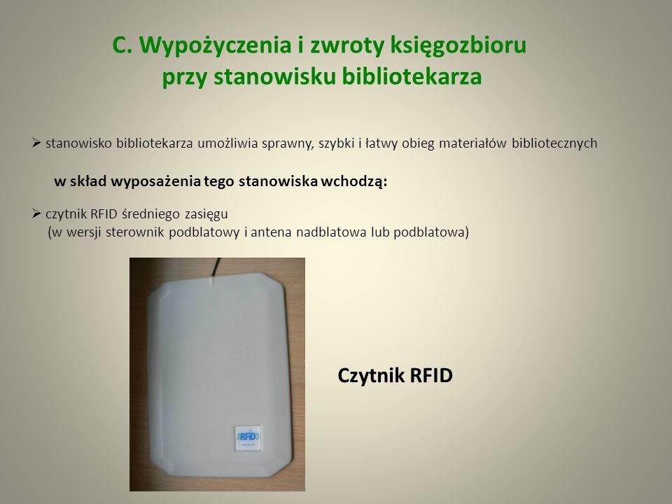czytnik kart bibliotecznych (legitymacji studenckich i kodów kreskowych) Czytnik kodów kreskowych zasilacz sterownika RFID oprogramowania stanowiskowe (kodowania etykiet, wypożyczania i zwrotów) identyfikacja i odczyt danych o wypożyczanych i oddawanych książkach odbywa się przy pomocy stacjonarnych czytników RFID (na blacie i pod blatem) jednocześnie można wypożyczać wiele książek – aby informacje zostały sczytane wystarczy zbliżyć wybrane pozycje w zakres działania czytnika nie ma konieczności odszukania etykiety, jak odbywa się to w przypadku kodów kreskowych