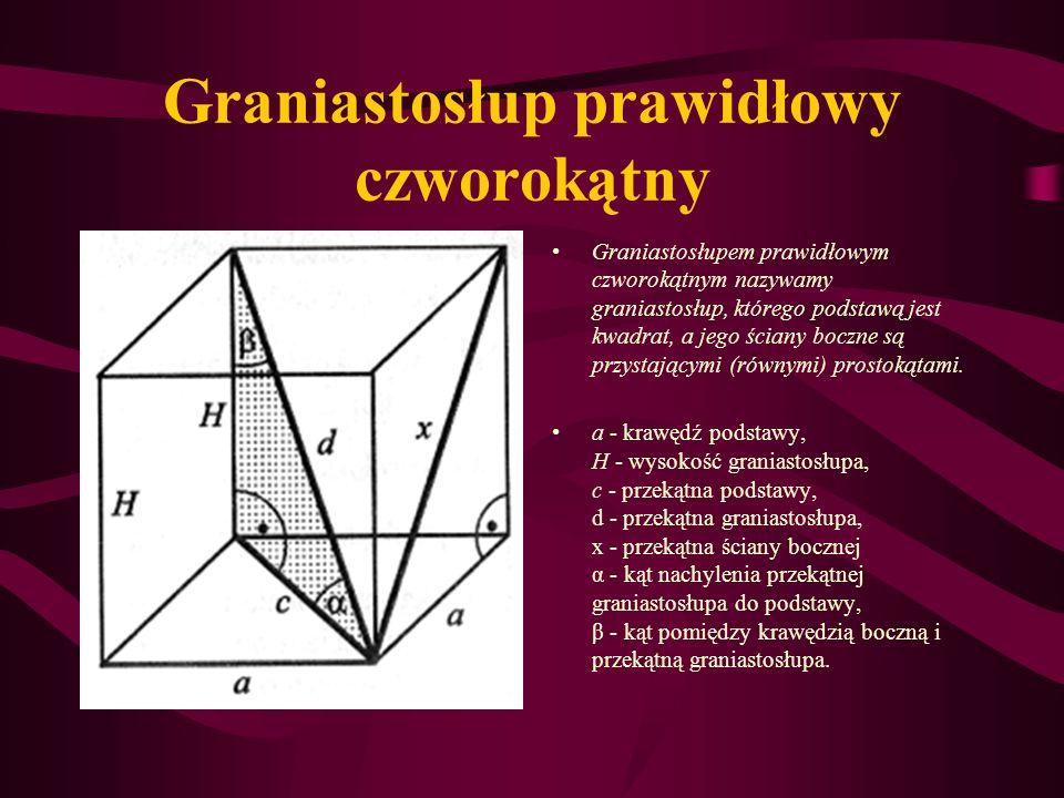 Graniastosłup prawidłowy czworokątny Graniastosłupem prawidłowym czworokątnym nazywamy graniastosłup, którego podstawą jest kwadrat, a jego ściany boczne są przystającymi (równymi) prostokątami.