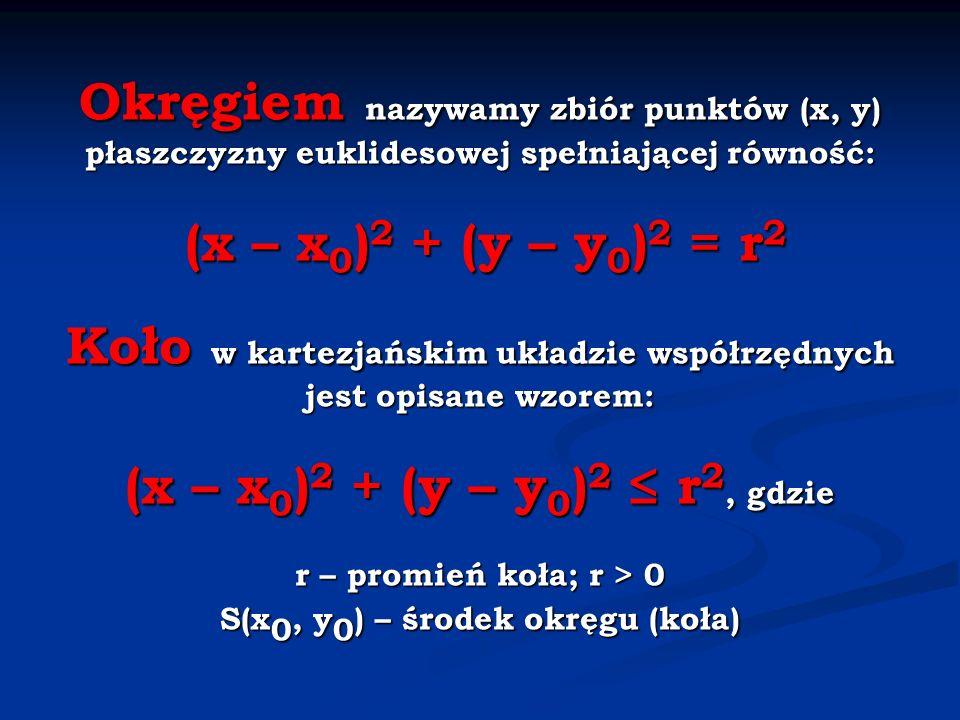 Okręgiem nazywamy zbiór punktów (x, y) płaszczyzny euklidesowej spełniającej równość: (x – x 0 ) 2 + (y – y 0 ) 2 = r 2 Koło w kartezjańskim układzie współrzędnych jest opisane wzorem: (x – x 0 ) 2 + (y – y 0 ) 2 r 2, gdzie r – promień koła; r > 0 S(x 0, y 0 ) – środek okręgu (koła)