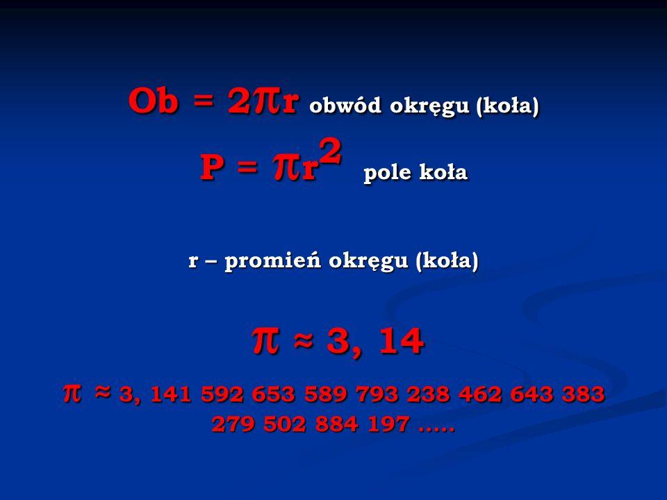Ob = 2 r obwód okręgu (koła) P = r 2 pole koła r – promień okręgu (koła) 3, 14 3, 141 592 653 589 793 238 462 643 383 279 502 884 197.....
