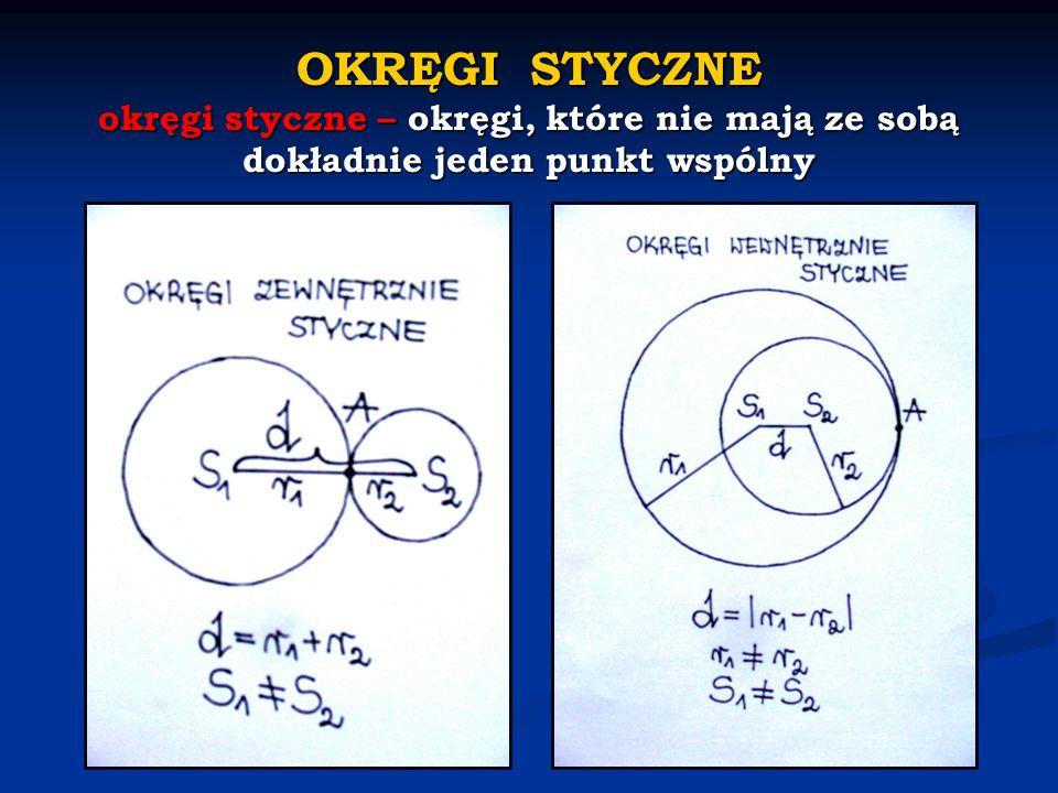 OKRĘGI STYCZNE okręgi styczne – okręgi, które nie mają ze sobą dokładnie jeden punkt wspólny