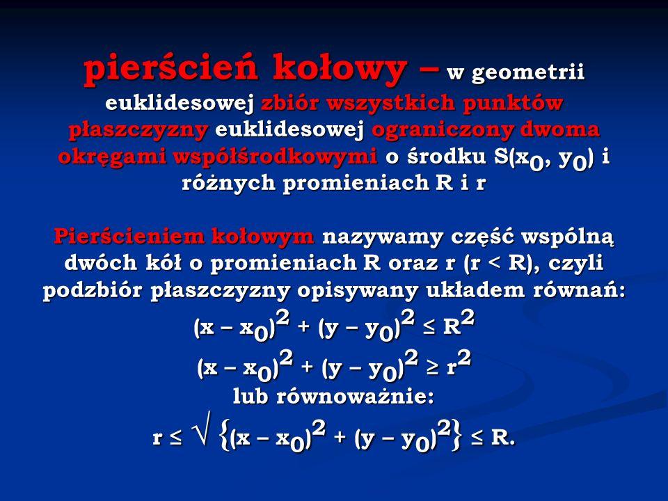 pierścień kołowy – w geometrii euklidesowej zbiór wszystkich punktów płaszczyzny euklidesowej ograniczony dwoma okręgami współśrodkowymi o środku S(x 0, y 0 ) i różnych promieniach R i r Pierścieniem kołowym nazywamy część wspólną dwóch kół o promieniach R oraz r (r < R), czyli podzbiór płaszczyzny opisywany układem równań: (x – x 0 ) 2 + (y – y 0 ) 2 R 2 (x – x 0 ) 2 + (y – y 0 ) 2 r 2 lub równoważnie: r { (x – x 0 ) 2 + (y – y 0 ) 2 } R.