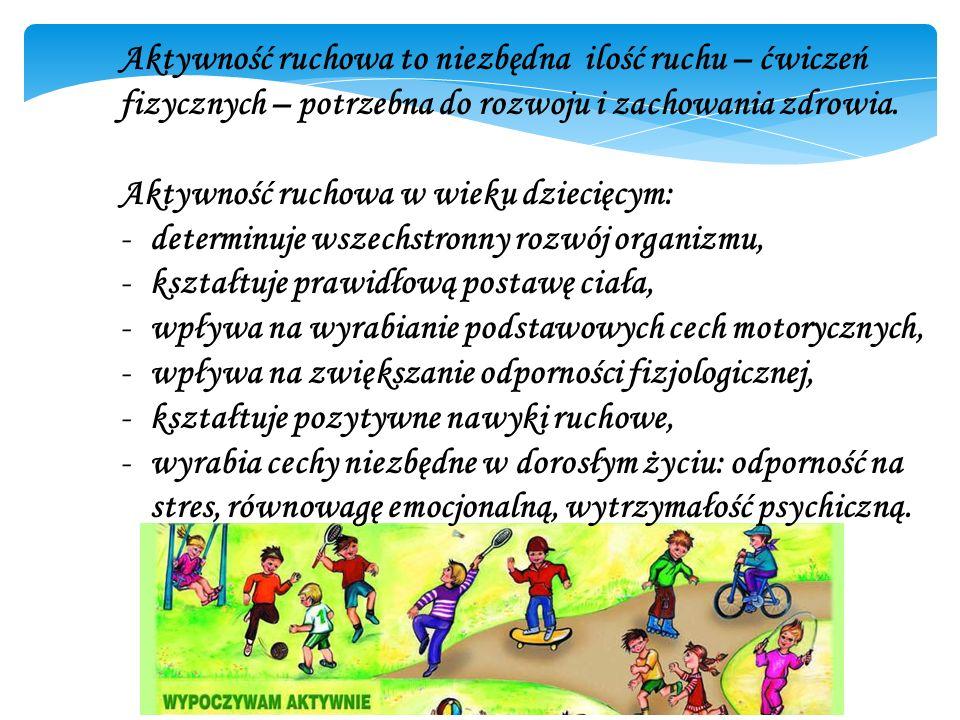 Aktywność ruchowa to niezbędna ilość ruchu – ćwiczeń fizycznych – potrzebna do rozwoju i zachowania zdrowia. Aktywność ruchowa w wieku dziecięcym: -de
