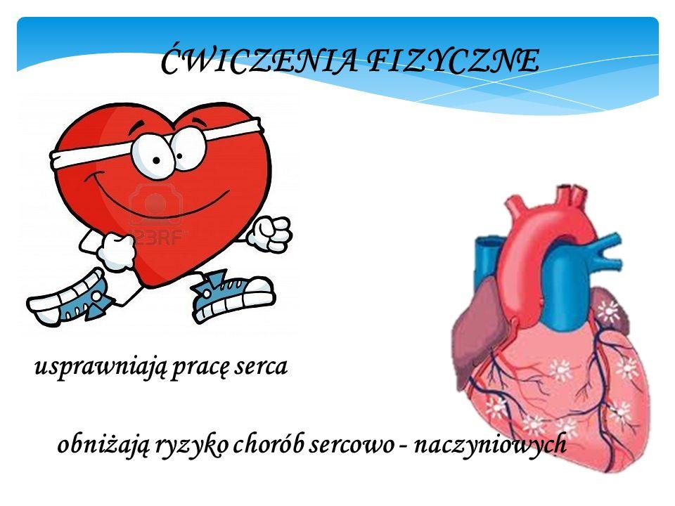 ĆWICZENIA FIZYCZNE usprawniają pracę serca obniżają ryzyko chorób sercowo - naczyniowych