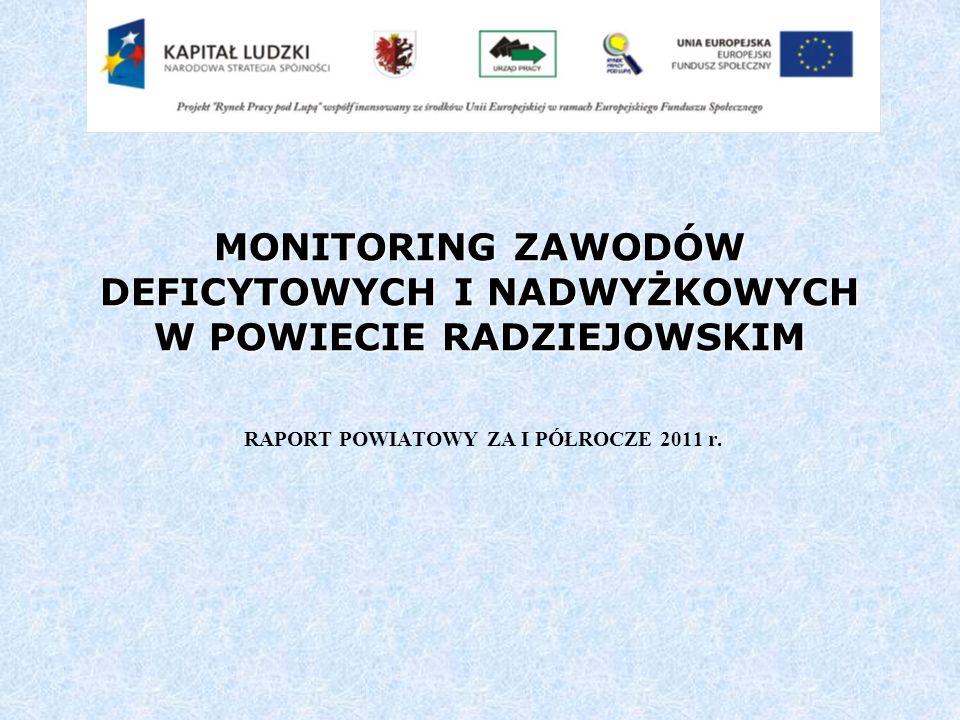 MONITORING ZAWODÓW DEFICYTOWYCH I NADWYŻKOWYCH W POWIECIE RADZIEJOWSKIM RAPORT POWIATOWY ZA I PÓŁROCZE 2011 r.