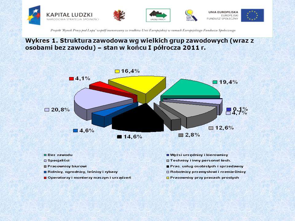 Wykres 1. Wykres 1. Struktura zawodowa wg wielkich grup zawodowych (wraz z osobami bez zawodu) – stan w końcu I półrocza 2011 r.