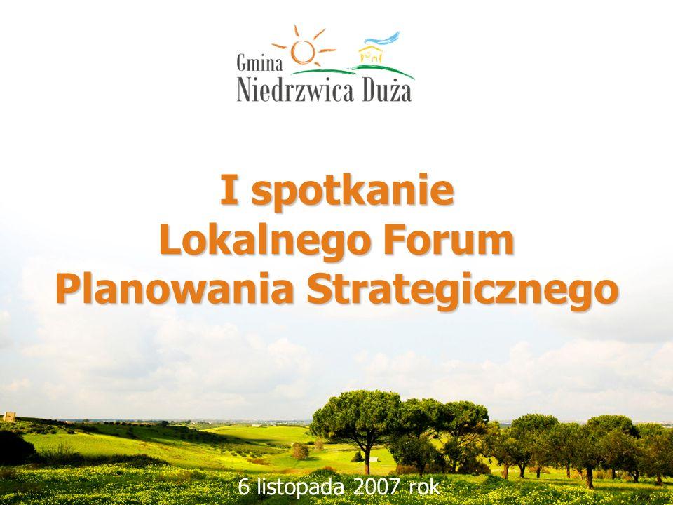 1 I spotkanie Lokalnego Forum Planowania Strategicznego 6 listopada 2007 rok
