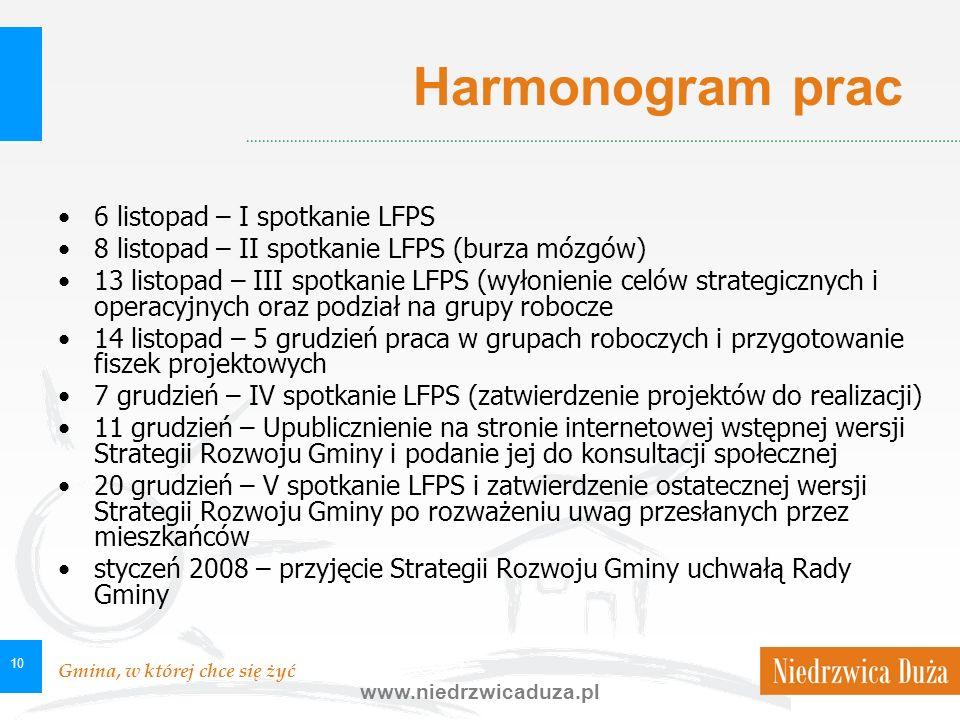 Gmina, w której chce się żyć www.niedrzwicaduza.pl 10 Harmonogram prac 6 listopad – I spotkanie LFPS 8 listopad – II spotkanie LFPS (burza mózgów) 13