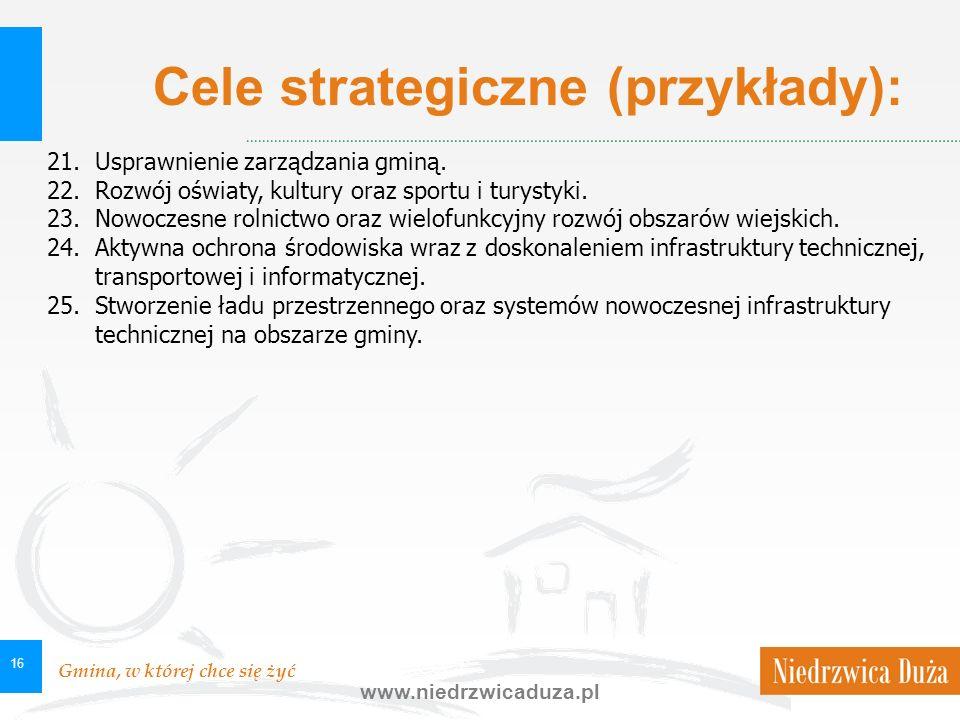 Gmina, w której chce się żyć www.niedrzwicaduza.pl 16 21.Usprawnienie zarządzania gminą. 22.Rozwój oświaty, kultury oraz sportu i turystyki. 23.Nowocz