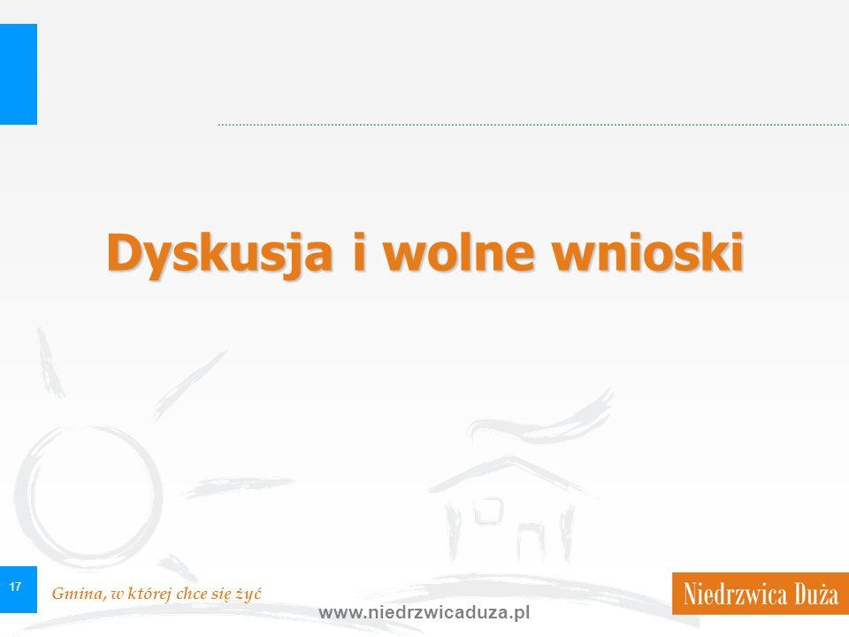 Gmina, w której chce się żyć www.niedrzwicaduza.pl 17 Dyskusja i wolne wnioski