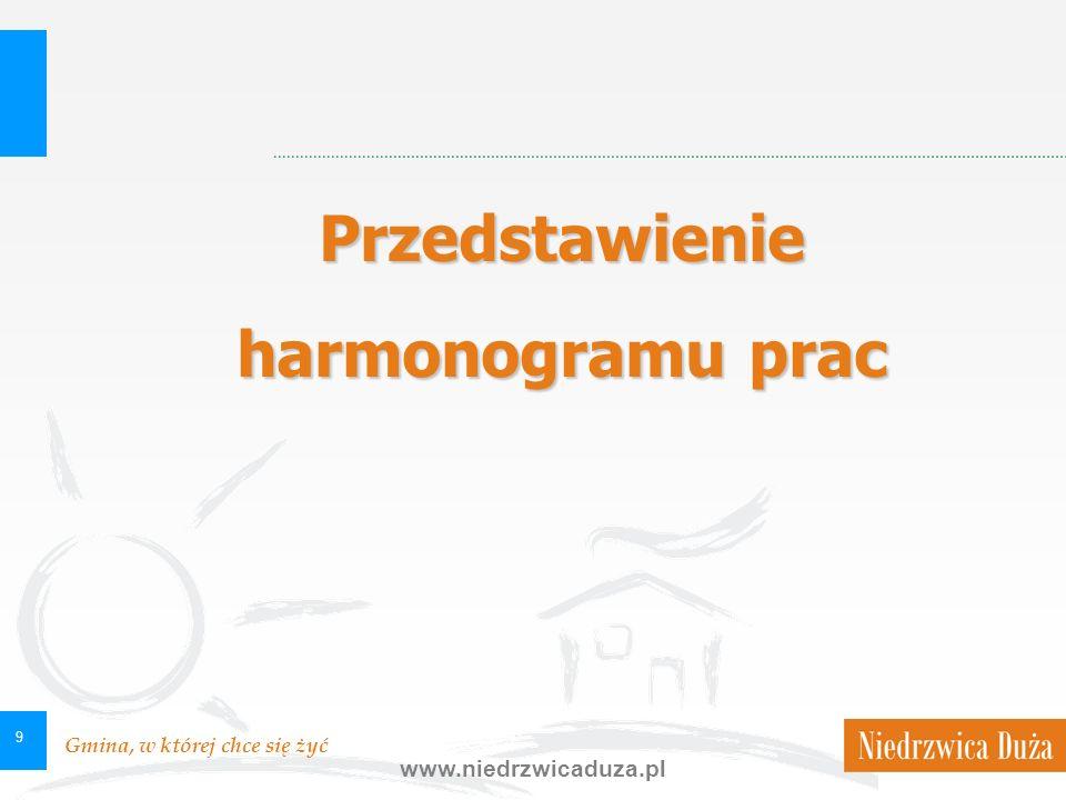Gmina, w której chce się żyć www.niedrzwicaduza.pl 9 Przedstawienie harmonogramu prac