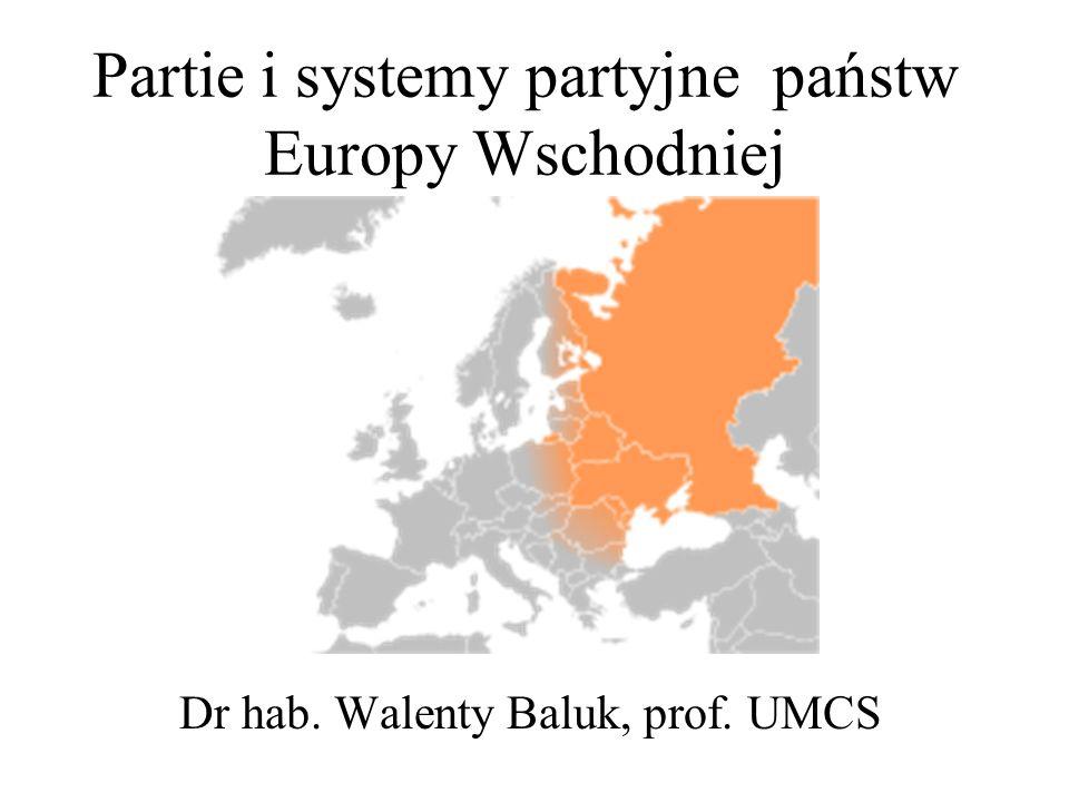 Partie i systemy partyjne państw Europy Wschodniej Dr hab. Walenty Baluk, prof. UMCS