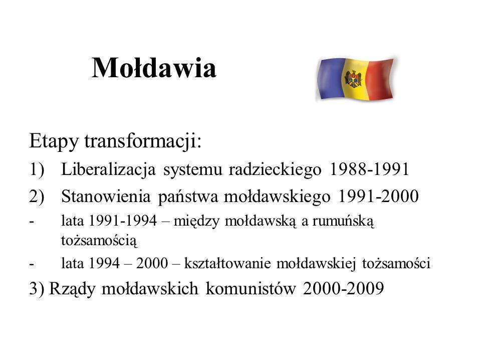 Mołdawia Etapy transformacji: 1)Liberalizacja systemu radzieckiego 1988-1991 2)Stanowienia państwa mołdawskiego 1991-2000 -lata 1991-1994 – między moł