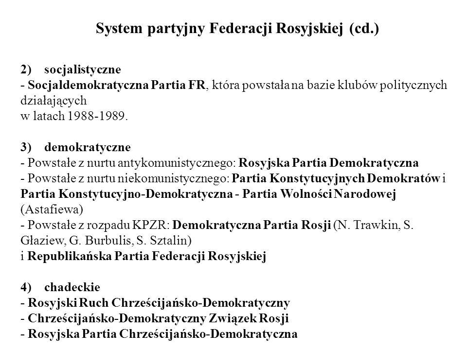 System partyjny Federacji Rosyjskiej (cd.) 2) socjalistyczne - Socjaldemokratyczna Partia FR, która powstała na bazie klubów politycznych działających