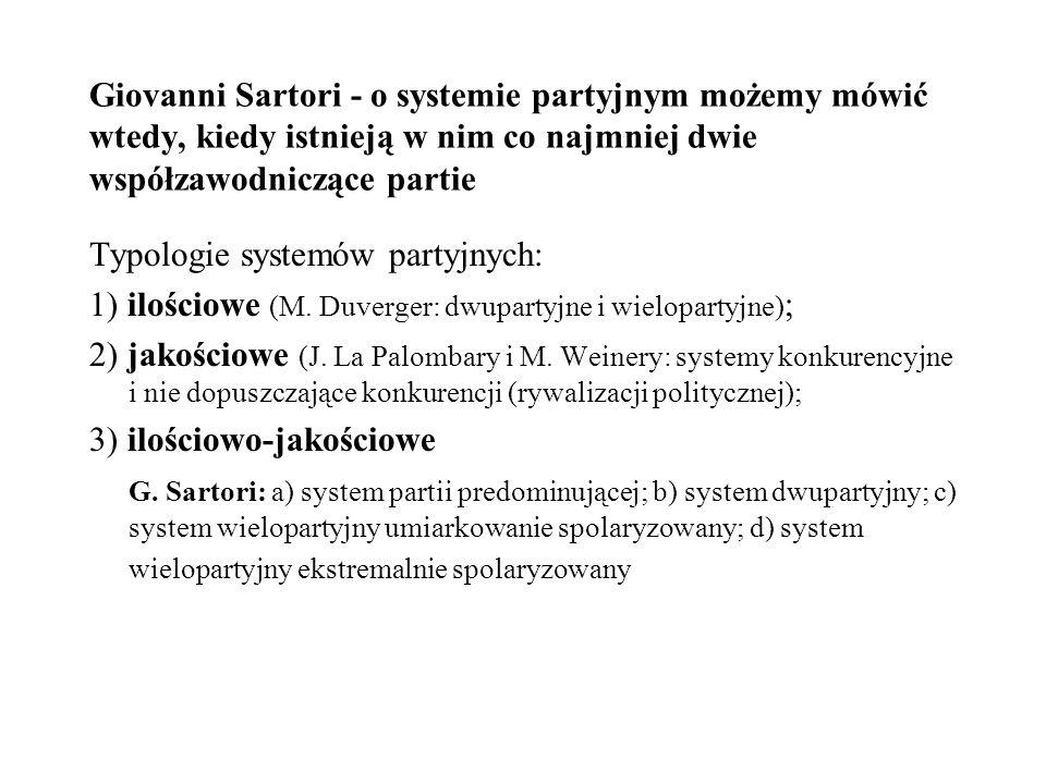 Giovanni Sartori - o systemie partyjnym możemy mówić wtedy, kiedy istnieją w nim co najmniej dwie współzawodniczące partie Typologie systemów partyjny