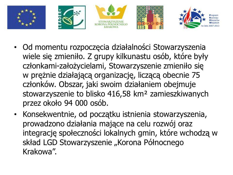 Program LEADER+ Stowarzyszenie brało udział w realizacji I Schematu Pilotażowego Programu Leader + w wyniku, którego przeprowadzono szereg spotkań informacyjnych, szkoleń oraz opracowano Zintegrowana Strategie rozwoju Obszarów Wiejskich dla obszaru, na którym działa Stowarzyszenie Korona Północnego Krakowa było jednym ze 162 LGD w Polsce, które otrzymały dofinansowanie w związku z realizacją projektu w ramach II Schematu Pilotażowego Programu Leader +.Ze względów formalnych (limit gęstości zaludnienia) projekt był realizowany na terenie 3 Gmin :Michałowice, Kocmyrzów-Luborzyca, Igołomia-Wawrzeńczyce