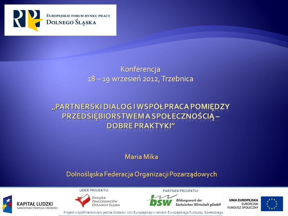 LIDER PROJEKTU: PARTNER PROJEKTU: Maria Mika Dolnośląska Federacja Organizacji Pozarządowych