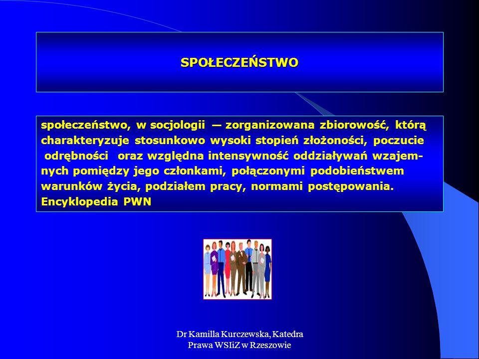Dr Kamilla Kurczewska, Katedra Prawa WSIiZ w Rzeszowie SPOŁECZEŃSTWO społeczeństwo, w socjologii zorganizowana zbiorowość, którą charakteryzuje stosun