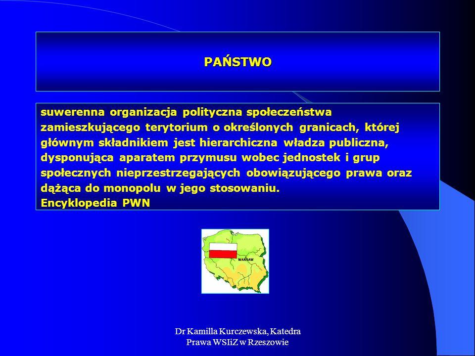Dr Kamilla Kurczewska, Katedra Prawa WSIiZ w Rzeszowie PAŃSTWO suwerenna organizacja polityczna społeczeństwa zamieszkującego terytorium o określonych