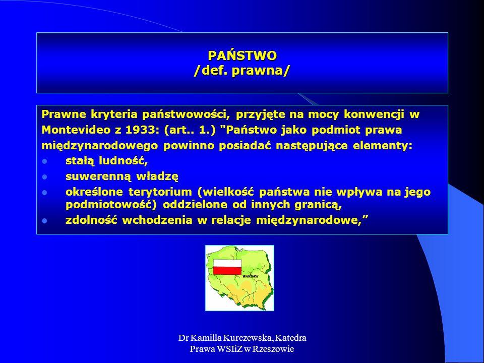 Dr Kamilla Kurczewska, Katedra Prawa WSIiZ w Rzeszowie PAŃSTWO /def. prawna/ Prawne kryteria państwowości, przyjęte na mocy konwencji w Montevideo z 1