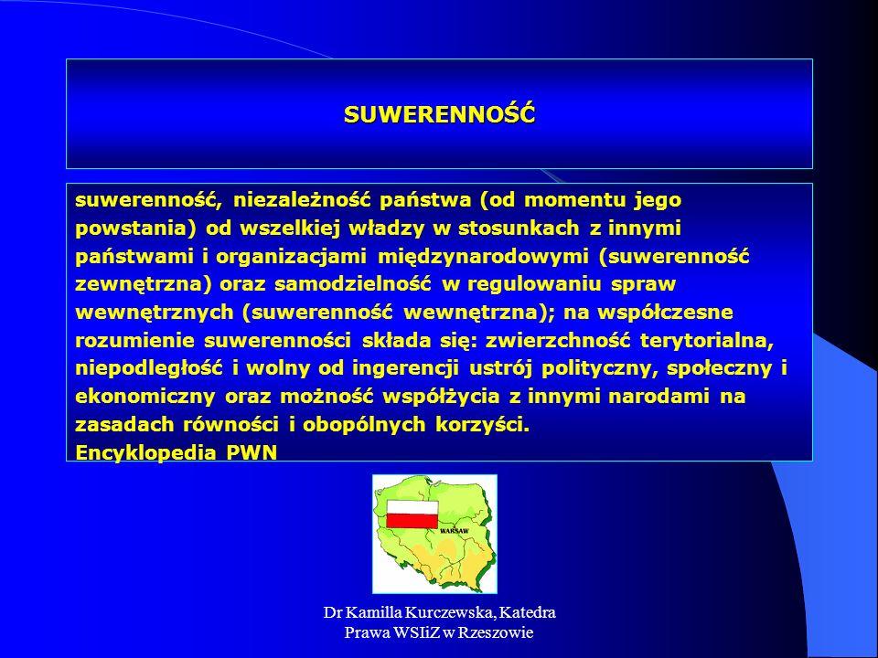 Dr Kamilla Kurczewska, Katedra Prawa WSIiZ w Rzeszowie SUWERENNOŚĆ suwerenność, niezależność państwa (od momentu jego powstania) od wszelkiej władzy w