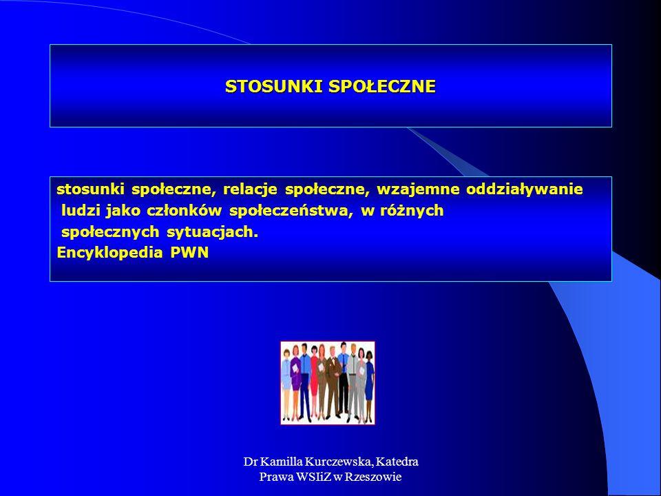 Dr Kamilla Kurczewska, Katedra Prawa WSIiZ w Rzeszowie STOSUNKI SPOŁECZNE stosunki społeczne, relacje społeczne, wzajemne oddziaływanie ludzi jako czł