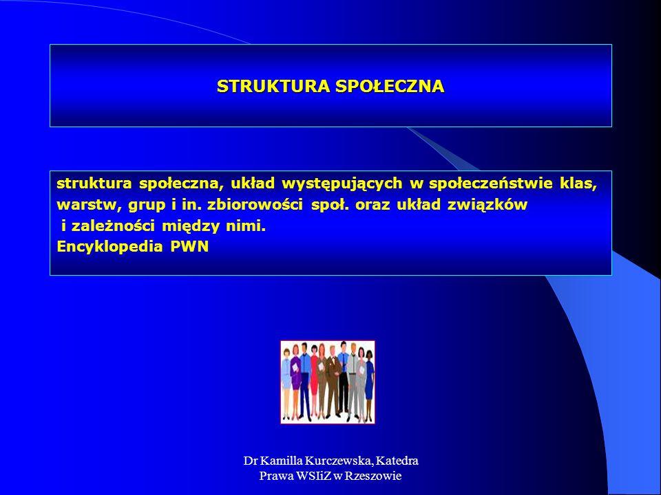 Dr Kamilla Kurczewska, Katedra Prawa WSIiZ w Rzeszowie STRUKTURA SPOŁECZNA struktura społeczna, układ występujących w społeczeństwie klas, warstw, gru