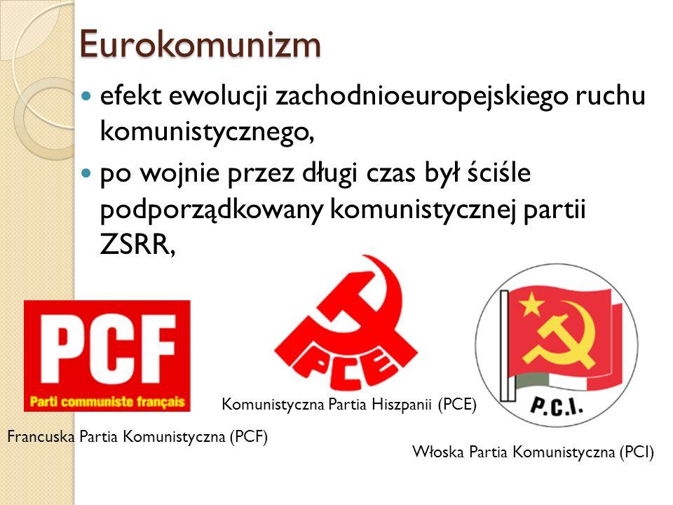 Eurokomunizm efekt ewolucji zachodnioeuropejskiego ruchu komunistycznego, po wojnie przez długi czas był ściśle podporządkowany komunistycznej partii