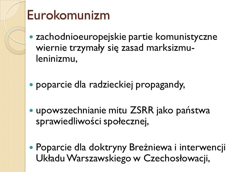 zachodnioeuropejskie partie komunistyczne wiernie trzymały się zasad marksizmu- leninizmu, poparcie dla radzieckiej propagandy, upowszechnianie mitu Z