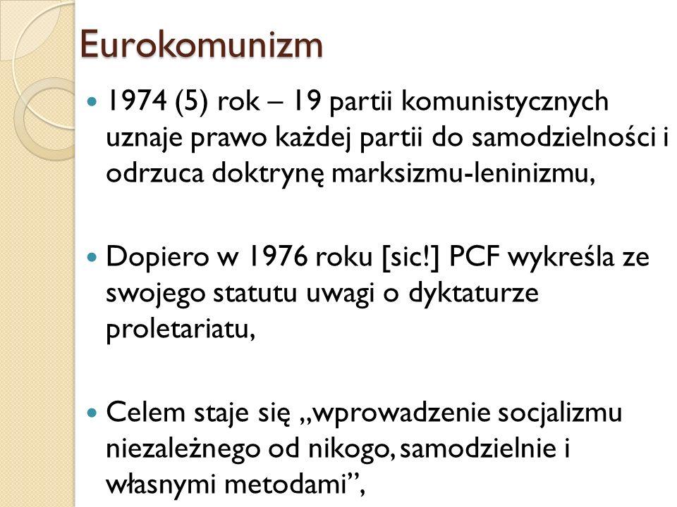 1974 (5) rok – 19 partii komunistycznych uznaje prawo każdej partii do samodzielności i odrzuca doktrynę marksizmu-leninizmu, Dopiero w 1976 roku [sic