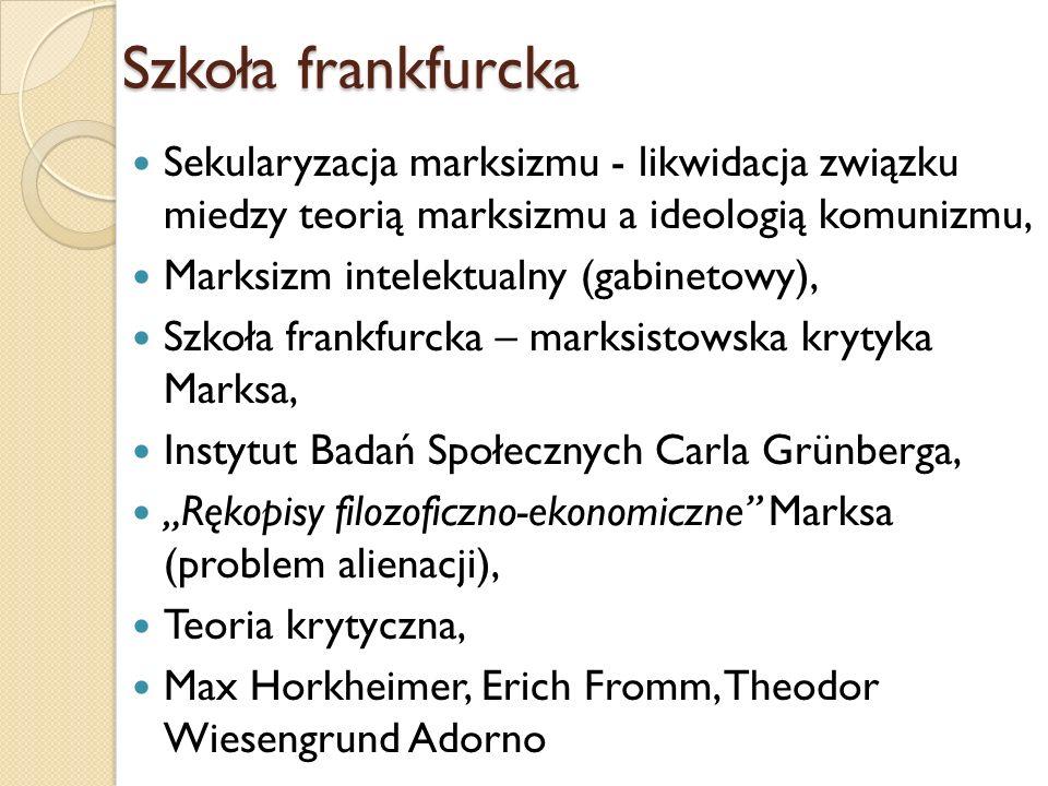 Szkoła frankfurcka Erich Fromm Max Horkheimer Theodor Wiesengrund Adorno http://www.marxists.org/glossary/people/f/pics/f romm-erich.jpg http://www.boulesis.com/especial/escueladefra nkfurt/media/photos/horkheimer2.jpg http://www.abolitionist.com/theodor-adorno.jpg