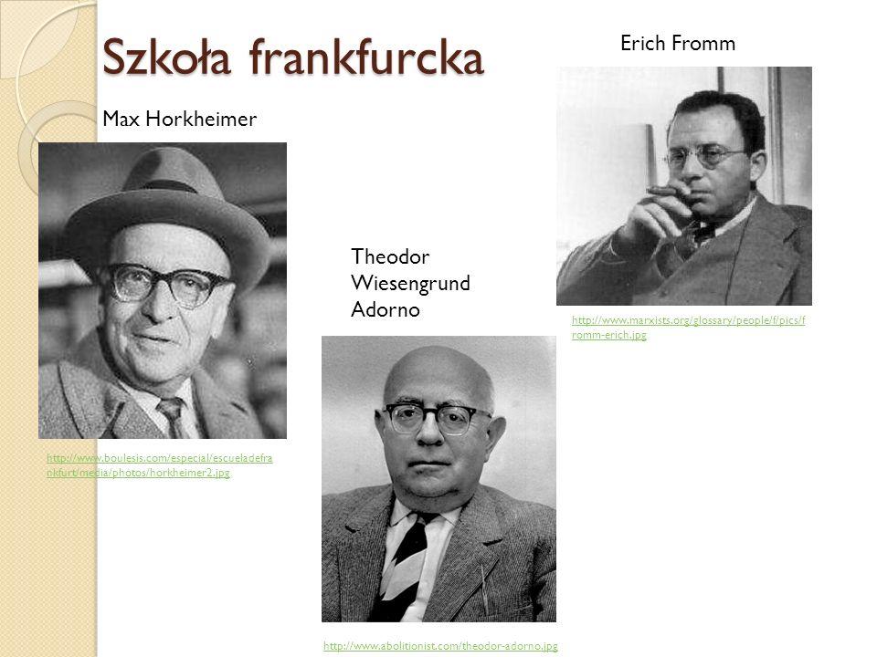 Szkoła frankfurcka Erich Fromm Max Horkheimer Theodor Wiesengrund Adorno http://www.marxists.org/glossary/people/f/pics/f romm-erich.jpg http://www.bo