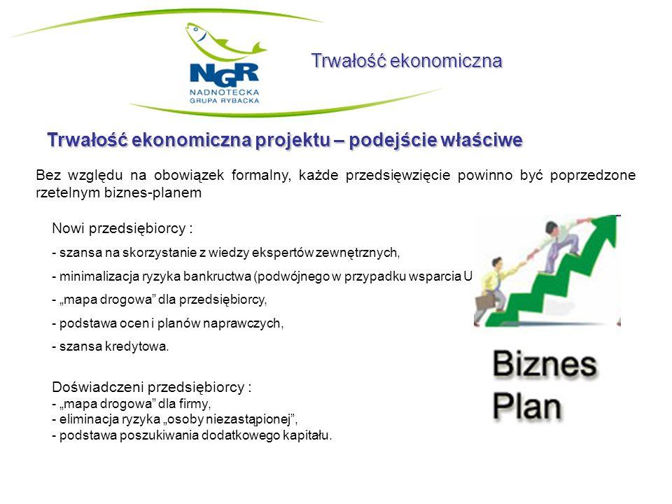Trwałość ekonomiczna Trwałość ekonomiczna projektu – podejście właściwe Bez względu na obowiązek formalny, każde przedsięwzięcie powinno być poprzedzo
