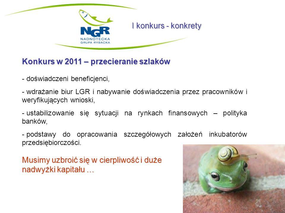 I konkurs - konkrety Konkurs w 2011 – przecieranie szlaków - doświadczeni beneficjenci, - wdrażanie biur LGR i nabywanie doświadczenia przez pracownik