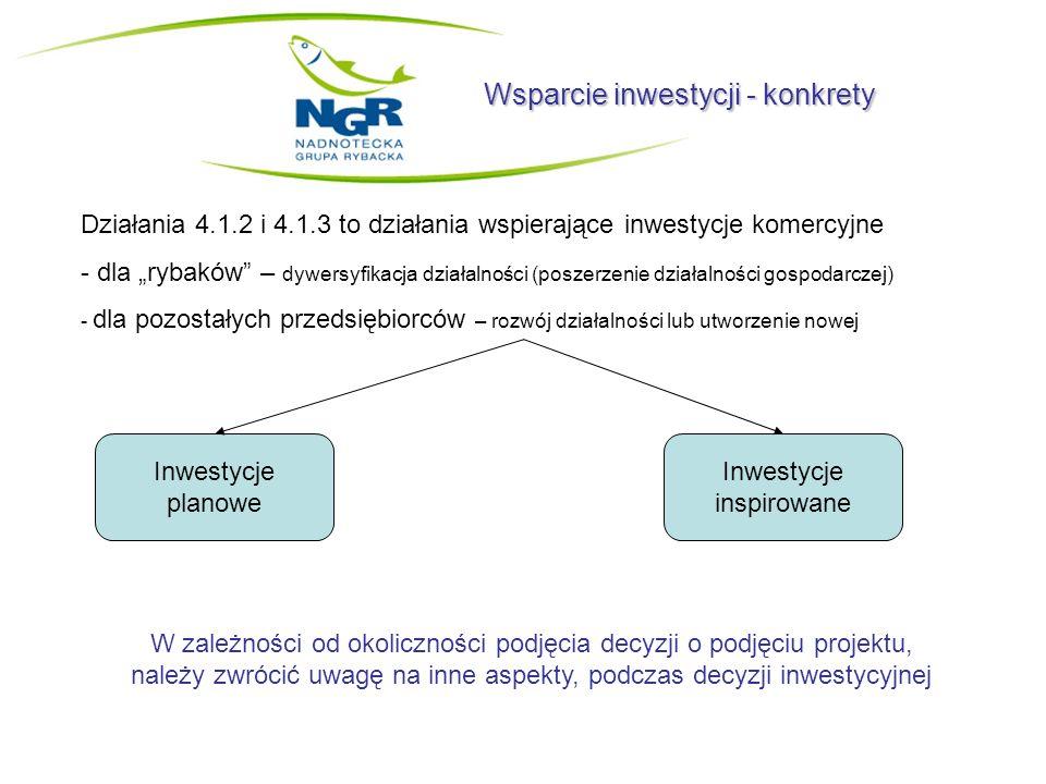 Wsparcie inwestycji - konkrety Działania 4.1.2 i 4.1.3 to działania wspierające inwestycje komercyjne - dla rybaków – dywersyfikacja działalności (pos