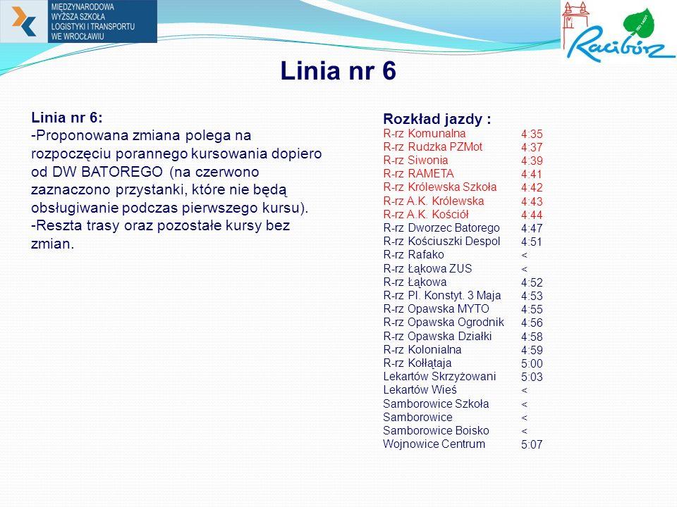 Linia nr 6 Linia nr 6: -Proponowana zmiana polega na rozpoczęciu porannego kursowania dopiero od DW BATOREGO (na czerwono zaznaczono przystanki, które nie będą obsługiwanie podczas pierwszego kursu).