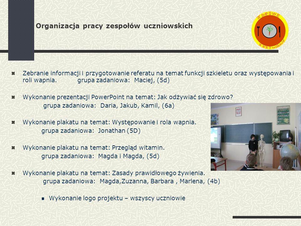 Organizacja pracy zespołów uczniowskich Zebranie informacji i przygotowanie referatu na temat funkcji szkieletu oraz występowania i roli wapnia.