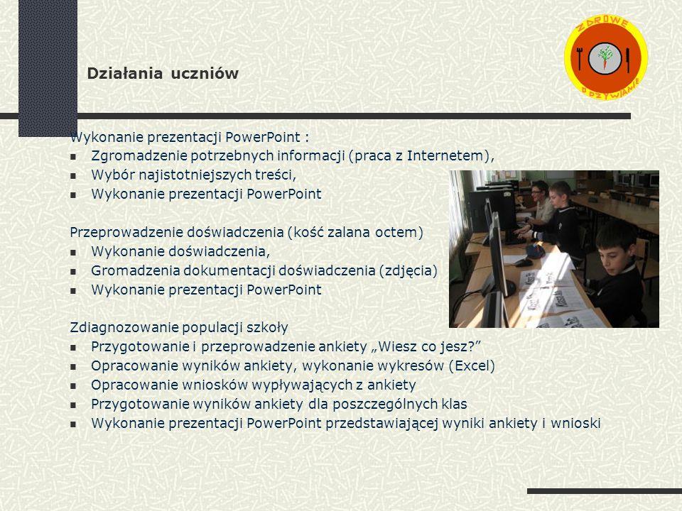 Działania uczniów Wykonanie prezentacji PowerPoint : Zgromadzenie potrzebnych informacji (praca z Internetem), Wybór najistotniejszych treści, Wykonanie prezentacji PowerPoint Przeprowadzenie doświadczenia (kość zalana octem) Wykonanie doświadczenia, Gromadzenia dokumentacji doświadczenia (zdjęcia) Wykonanie prezentacji PowerPoint Zdiagnozowanie populacji szkoły Przygotowanie i przeprowadzenie ankiety Wiesz co jesz.