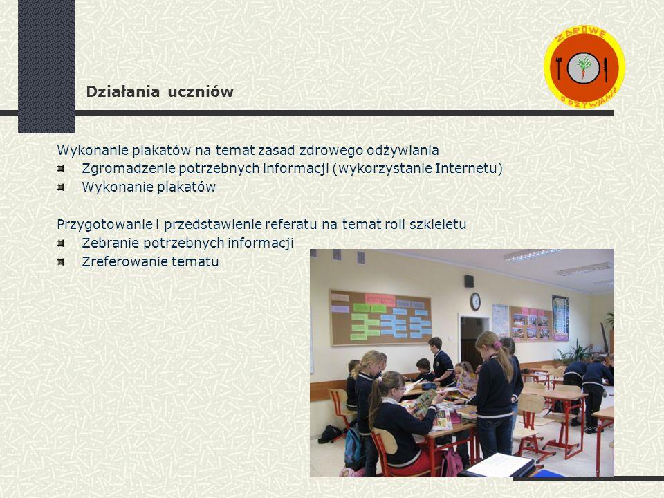 Działania uczniów Wykonanie plakatów na temat zasad zdrowego odżywiania Zgromadzenie potrzebnych informacji (wykorzystanie Internetu) Wykonanie plakatów Przygotowanie i przedstawienie referatu na temat roli szkieletu Zebranie potrzebnych informacji Zreferowanie tematu