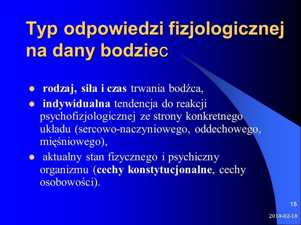 2014-02-18 15 Typ odpowiedzi fizjologicznej na dany bodziec rodzaj, siła i czas trwania bodźca, indywidualna tendencja do reakcji psychofizjologicznej