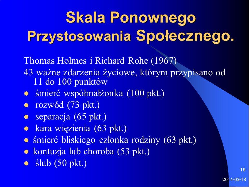 2014-02-18 19 Skala Ponownego Przystosowania Społecznego. Thomas Holmes i Richard Rohe (1967) 43 ważne zdarzenia życiowe, którym przypisano od 11 do 1