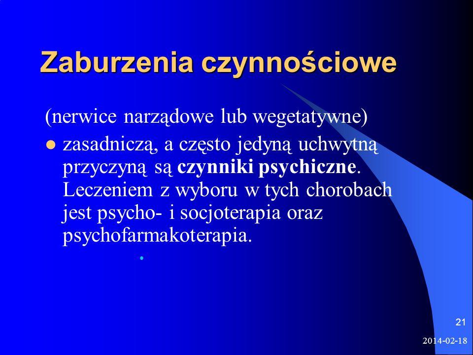 2014-02-18 21 Zaburzenia czynnościowe (nerwice narządowe lub wegetatywne) zasadniczą, a często jedyną uchwytną przyczyną są czynniki psychiczne. Lecze