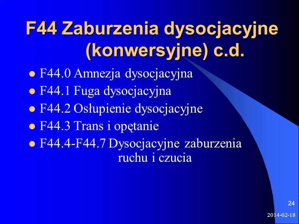 2014-02-18 24 F44 Zaburzenia dysocjacyjne (konwersyjne) c.d. F44.0 Amnezja dysocjacyjna F44.1 Fuga dysocjacyjna F44.2 Osłupienie dysocjacyjne F44.3 Tr