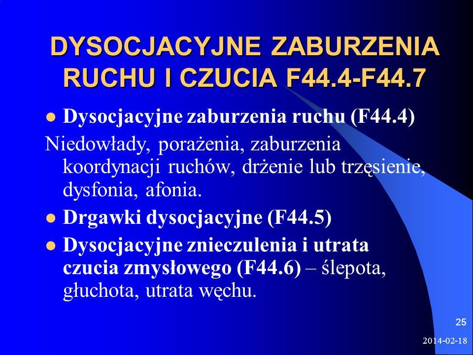2014-02-18 25 DYSOCJACYJNE ZABURZENIA RUCHU I CZUCIA F44.4-F44.7 Dysocjacyjne zaburzenia ruchu (F44.4) Niedowłady, porażenia, zaburzenia koordynacji r