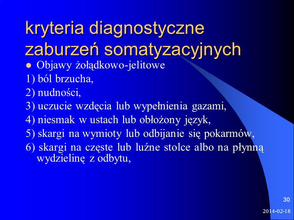 2014-02-18 30 kryteria diagnostyczne zaburzeń somatyzacyjnych Objawy żołądkowo-jelitowe 1) ból brzucha, 2) nudności, 3) uczucie wzdęcia lub wypełnieni