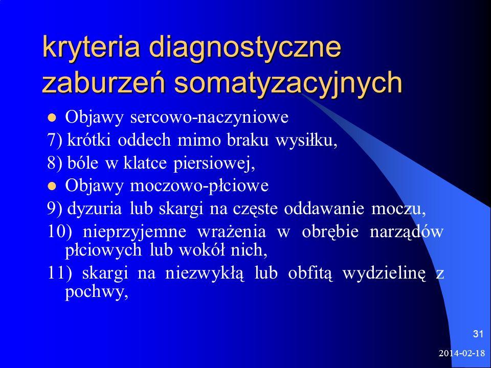 2014-02-18 31 kryteria diagnostyczne zaburzeń somatyzacyjnych Objawy sercowo-naczyniowe 7) krótki oddech mimo braku wysiłku, 8) bóle w klatce piersiow