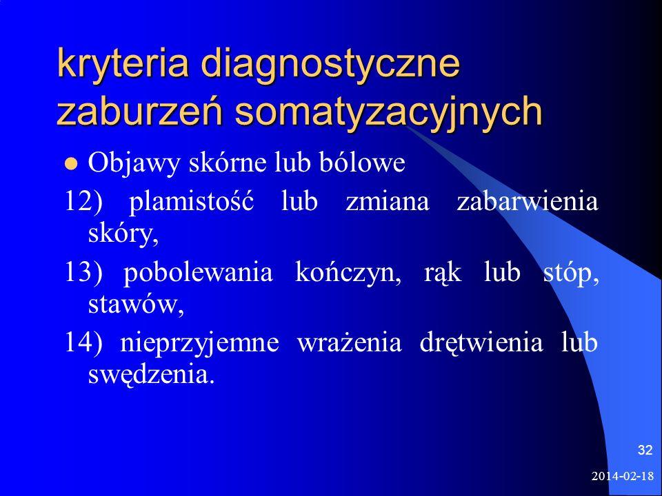 2014-02-18 32 kryteria diagnostyczne zaburzeń somatyzacyjnych Objawy skórne lub bólowe 12) plamistość lub zmiana zabarwienia skóry, 13) pobolewania ko