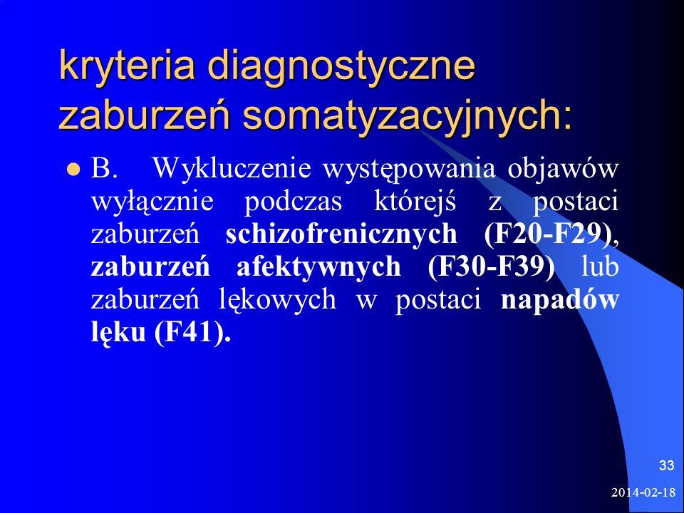 2014-02-18 33 kryteria diagnostyczne zaburzeń somatyzacyjnych: B. Wykluczenie występowania objawów wyłącznie podczas którejś z postaci zaburzeń schizo
