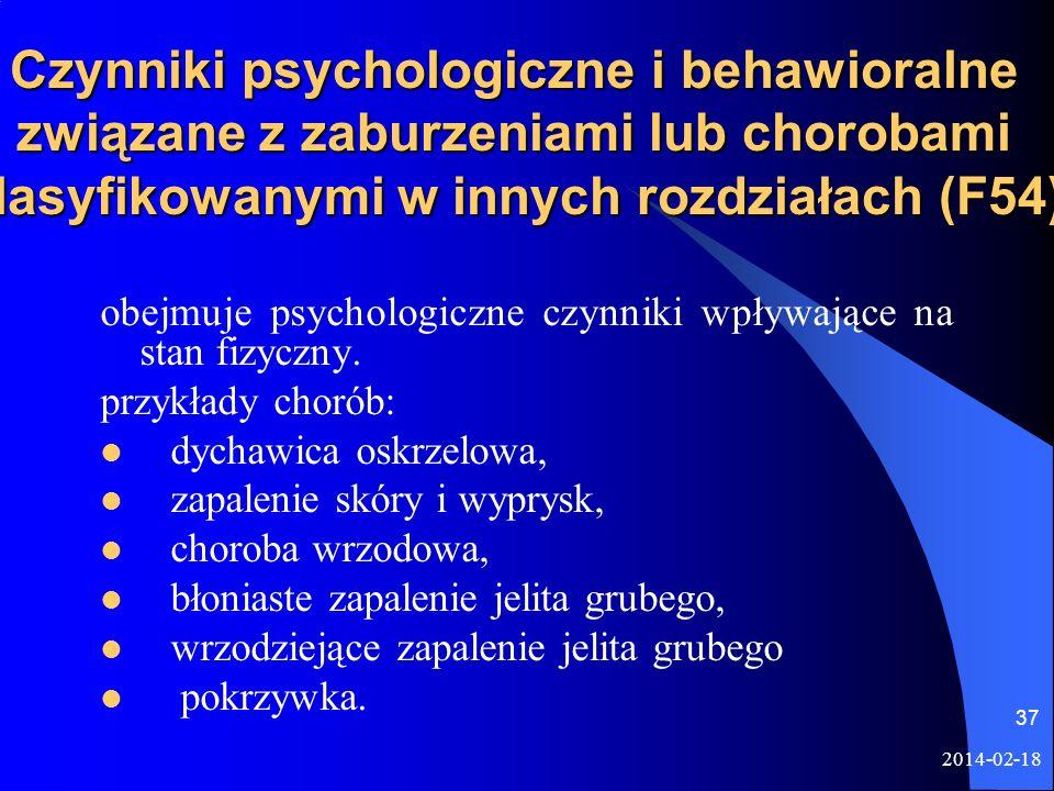 2014-02-18 37 Czynniki psychologiczne i behawioralne związane z zaburzeniami lub chorobami klasyfikowanymi w innych rozdziałach (F54) obejmuje psychol