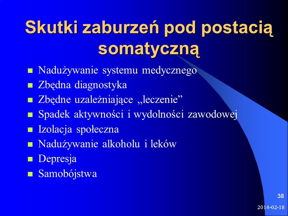 2014-02-18 38 Skutki zaburzeń pod postacią somatyczną Nadużywanie systemu medycznego Zbędna diagnostyka Zbędne uzależniające leczenie Spadek aktywnośc